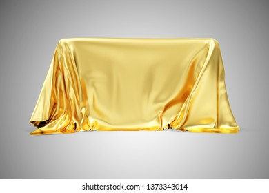 Golden Cloth Fabric Covered Board on gradient background. 3D rendering