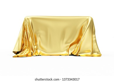 Golden Cloth Fabric Covered Board isolated on white background. 3D rendering