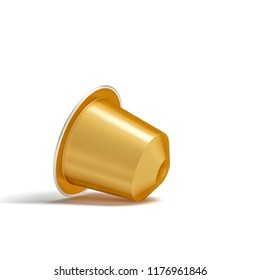 golden coffee capsule on white 3d rendering image