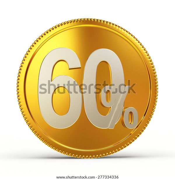 Golden Coin 60 Percent Discount Isolated Stock Illustration