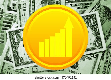 Golden coin with business growth charts on money background