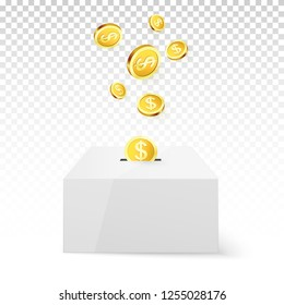 Golden Coin Drop into Money Box. Donation and Charity. Donate money concept. Golden coin fund in money box.