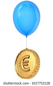 Golden coin with a euro sign flies on balloon. Isolated on white background. 3d illustration.