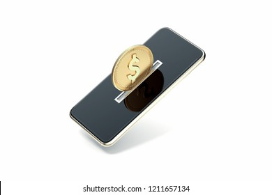 Golden coin on mobile phone screen on grey background. Mobile phone as piggy bank. Online shopping and paying concept. 3d rendering.