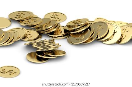 golden coins with dollar sign 3d illustration