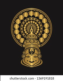 Golden color kathakali face mask in black background image/ kathakali dancer image