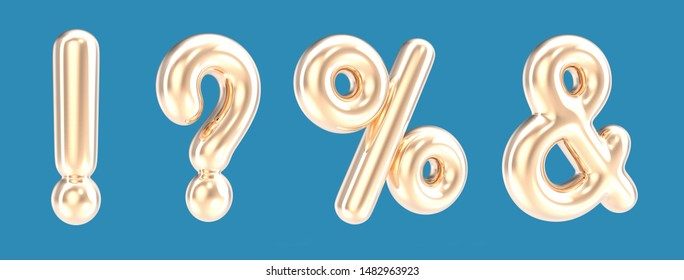 Golden color punctuation mark foil balloon set on blue background in 3d rendering