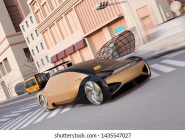 Golden color self driving sedan driving on the road. Ride sharing concept. 3D rendering image.