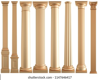 Golden columns on a white background. Isolated. 3D illustration