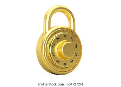 golden combination padlock, 3D rendering isolated on white background