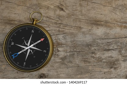 Golden compass on the wooden background. 3d illustration.