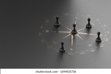 Golden compass rose over black background with five pawns. Business advice  or strategic marketing  concept. 3D illustration.