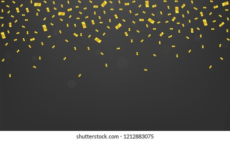 Golden confetti background, golden glitters stars. Festive holiday background