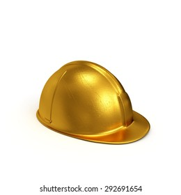 Golden constructing safety casque 3D rendered isolated on white background