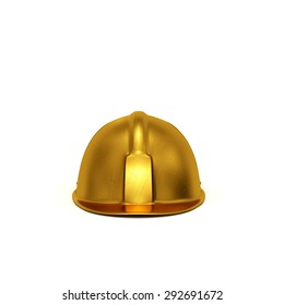 Golden constructing safety casque 3D rendered isolated on white background (front view)