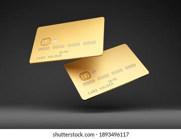 Golden credit cards mockup, dark black background, 3D Illustration