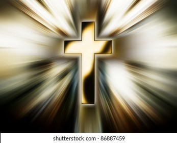 Golden cross in the bright rays