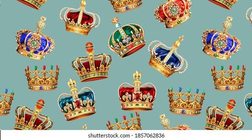 Golden Crown Baroque Fashion Texture Pattern