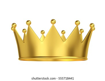 Golden crown isolated on white. 3D rendering