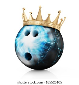 Golden Crown on Painted Bowling Ball isolated on white background. Bowling King Champion Concept