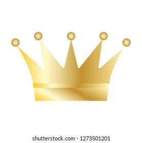 Golden crown on white background