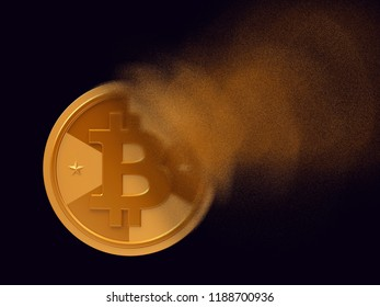 Golden cryptocurrency coin - bitcoin turns to dust, cryptocurrency falling concept, realistic 3d illustration