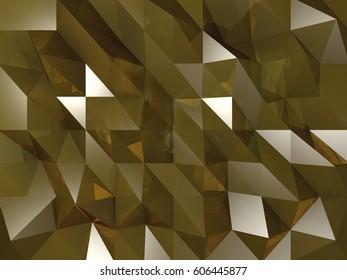Golden Crystal Background 3D Rendering