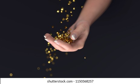 golden crystals fall into the hand, 3d illustration,