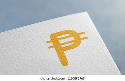 Golden Cuban Peso Money 3D Illustration Symbol Write On The Paper. Cuban Peso Money Logo On The Paper. Cuban Peso Money Logo. 3D Rendering.