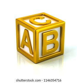 Golden cube with letters A, B and C 3d illustration on white background