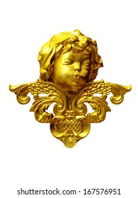 golden cupid head with arabesque ornament