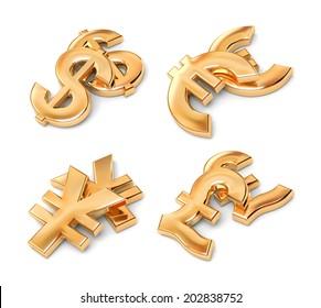 Golden currency symbols.
