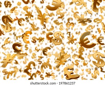 Golden currency symbols falling on the white background.
