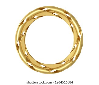 Golden curved ring isolated on white background. 3d illustration.