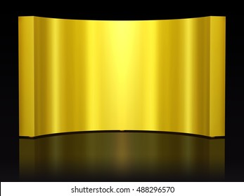 golden, curved wall as a background motive, 3d Illustration