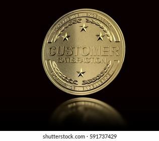 Golden customer satisfaction medal over black background. Concept of Customer Relationship Management. 3D illustration