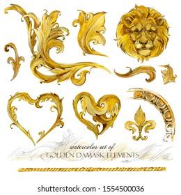 golden damask elements. baroque hand drawn watercolor collection. vintage antique set