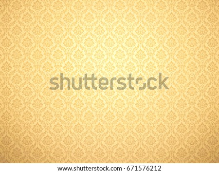Golden Damask Wallpaper With Floral Patterns