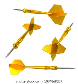 Golden darts arrows 3d illustration isolated on white background