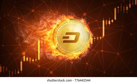 Golden dash coin in fire with bull trading stock chart. Dash blockchain token grows in price on stock market concept. Cryptocurrency coin on polygon peer to peer network background.