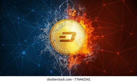 Golden dash coin in fire flame, water splashes and lightning. Dash blockchain hard fork concept. Cryptocurrency symbol in storm with peer to peer network polygon background.