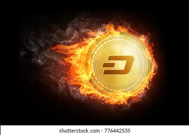 Golden dash coin flying in fire flame. Blockchain token grows in price on stock market concept. Burning crypto currency dash symbol illustration isolated on black background.