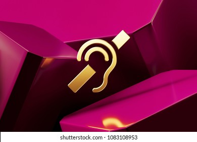 Golden Deaf Icon With the Fine Magenta Glossy Boxes. 3D Illustration of the Golden Deaf, Disable, Disabled, Handicap, Mute, Silent Icon Set on Magenta Abstract Background.