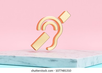 Golden Deaf Icon on Pink Background . 3D Illustration of Golden Deaf, Disable, Disabled, Handicap, Mute, Silent Icons on Pink Color With White Marble.