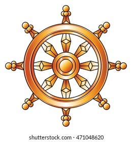 Golden Dharma wheel. Buddhism symbol.