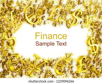 Golden digital futuristic money frame, finance business concept 3D rendering. Gold yellow background for forex chart trades info. Physical currency symbols. Trade sales promo template. Place for text.