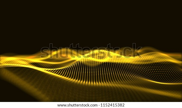 Golden digital wave background abstract title blurred particle illustration.