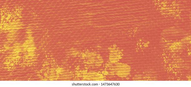 Golden Dirt Splatter Aquarel. Gold Turmeric Ombre Wash. Sunny Batik Dyed Textures. Retro Artistic Print. Carrot Ink Bleed Effects. Curry Bleach Dye Effect.