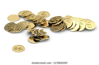 golden dollar coins 3d illustration