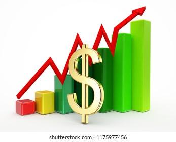 golden dollar sign graphic grown up finance concept 3d illustration